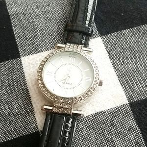 CHARMING CHARLIE Silver and Black Patent Watch